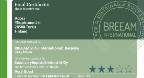 Agoralle BREEAM sertifikaatti